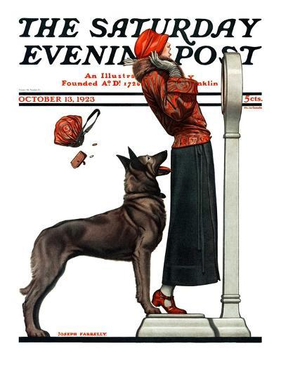 """""""Tipping the Scales,"""" Saturday Evening Post Cover, October 13, 1923-Joseph Farrelly-Giclee Print"""