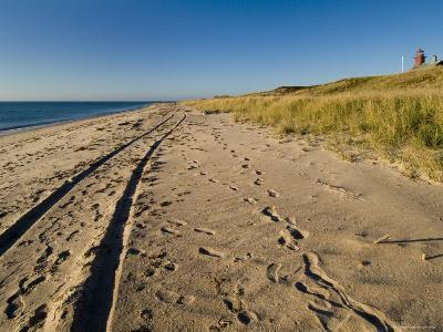 Tire Tracks and Footprints in the Sand Along a Beach by a Lighthouse, Block Island, Rhode Island-Todd Gipstein-Photographic Print