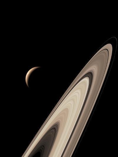 Titan's Lakes And Saturn's Rings-David Parker-Photographic Print