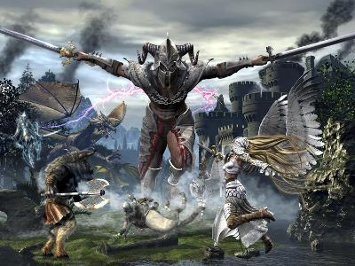 Titan Trying to Defeat a Legion of Magical and Powerful Creatures-Stocktrek Images-Art Print