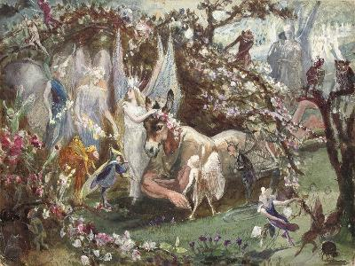 Titania and Bottom from William Shakespeare's 'A Midsummer-Night's Dream'-John Anster Fitzgerald-Giclee Print