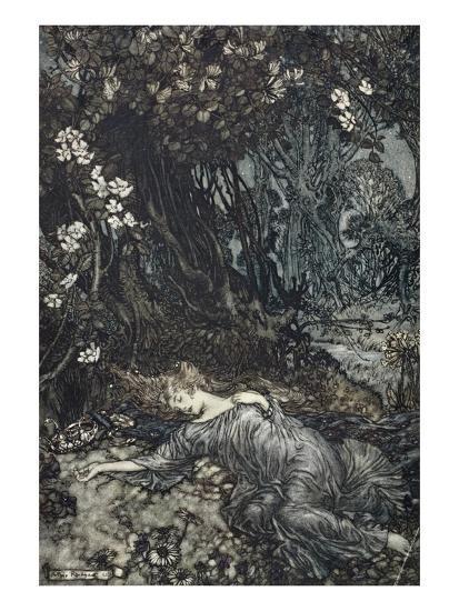 Titania Lying Asleep, Illustration from 'Midsummer Nights Dream' by William Shakespeare, 1908-Arthur Rackham-Giclee Print