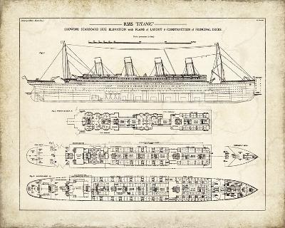 Titanic Blueprint Vintage I-The Vintage Collection-Giclee Print