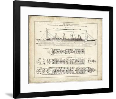 Titanic Blueprint Vintage I-The Vintage Collection-Framed Giclee Print