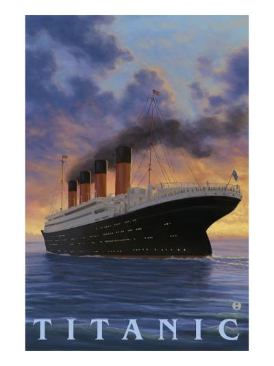 Titanic Scene - White Star Line-Lantern Press-Art Print