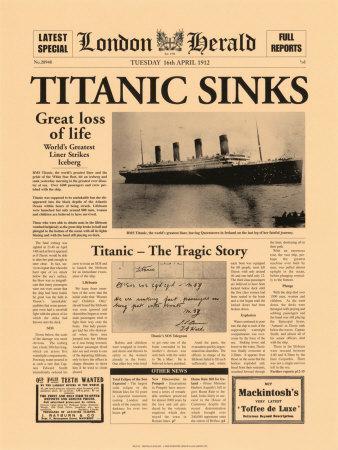 Titanic Sinks-The Vintage Collection-Art Print