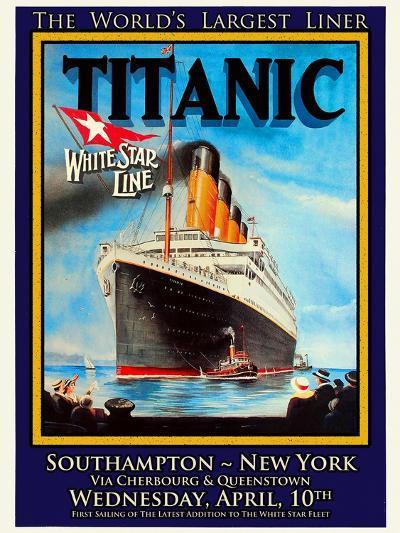 Titanic White Star Line Travel Poster 1-Jack Dow-Giclee Print