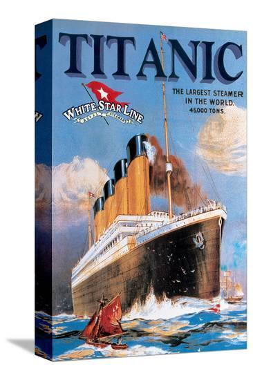 Titanic White Star Line--Stretched Canvas Print