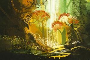 Abstract Autumn Forest with Waterfall,Digital Painting,Illustration by Tithi Luadthong