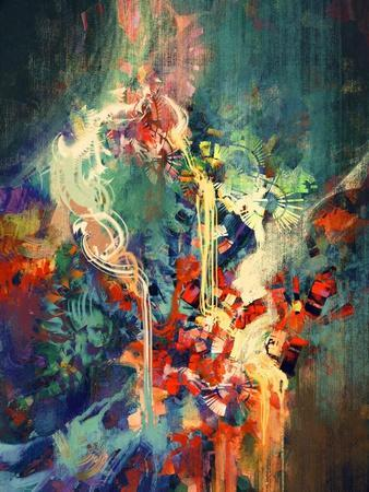 Abstract Colorful Painting,Melted Coloring Elements,Illustration