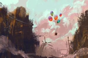 Ancient Car in a Sky with Balloons over a Destroyed City,Digital Painting by Tithi Luadthong
