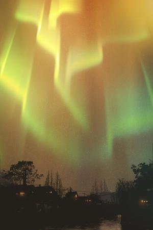 Aurora Borealis,Northern Lights above Village,Illustration Painting