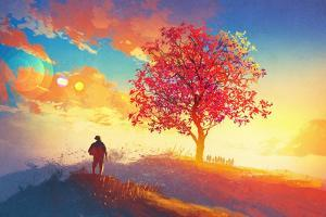 Autumn Landscape with Alone Tree on Mountain,Coming Home Concept,Illustration Painting by Tithi Luadthong