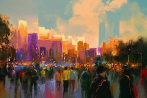 Beautiful Painting of People in a City Park at Sunset,Illustration by Tithi Luadthong