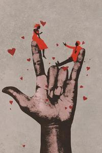 Big Hand in I LOVE YOU Sign with Romantic Couple,Illustration Painting by Tithi Luadthong