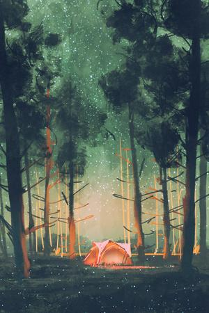 Camping in Forest at Night with Stars and Fireflies,Illustration,Digital Painting