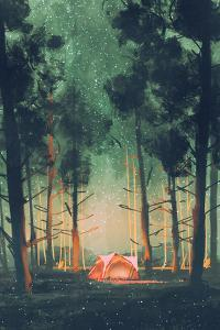 Camping in Forest at Night with Stars and Fireflies,Illustration,Digital Painting by Tithi Luadthong