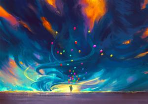 Child Holding Balloons Standing in Front of Fantasy Storm,Illustration Painting by Tithi Luadthong