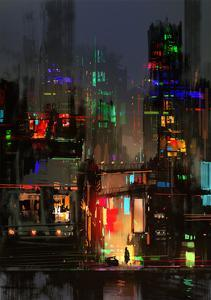 Cityscape Digital Painting of Building at Night by Tithi Luadthong