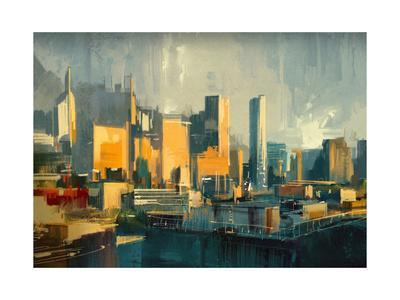 Cityscape Painting of Urban Skyscrapers at Sunset