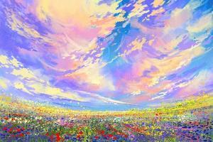 Colorful Flowers in Field under Beautiful Clouds,Landscape Painting by Tithi Luadthong