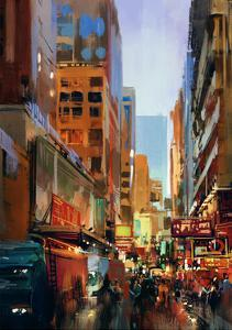 Colorful Painting of City Street,Illustration by Tithi Luadthong