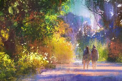Couple Walking in Beautiful Place,Illustration,Digital Painting,Outdoor