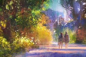 Couple Walking in Beautiful Place,Illustration,Digital Painting,Outdoor by Tithi Luadthong
