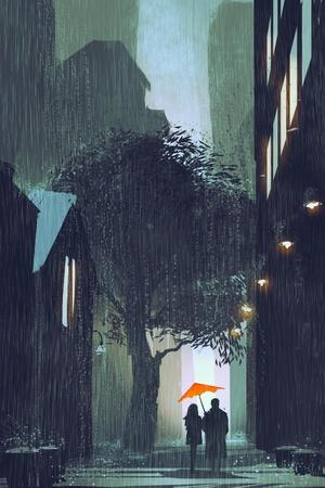 Couple with Red Umbrella Walking in Raining Street at Night,Illustration Painting