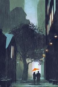Couple with Red Umbrella Walking in Raining Street at Night,Illustration Painting by Tithi Luadthong