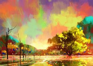 Digital Painting of a Beautiful Lake,Colorful Sky,Landscape Illustration by Tithi Luadthong
