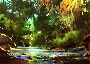 Digital Painting of Beautiful River with Cascades in Forest,Illustration by Tithi Luadthong