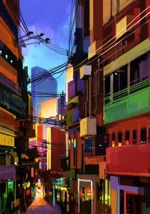 Digital Painting of Colorful Buildings in City Alley,Illustration by Tithi Luadthong