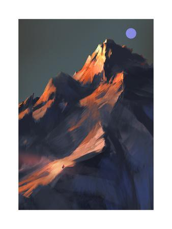 Digital Painting Showing Sunset Scene over a Mountain