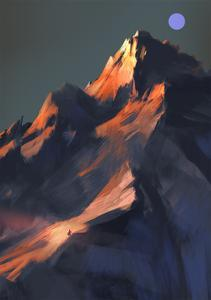 Digital Painting Showing Sunset Scene over a Mountain by Tithi Luadthong