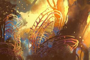 Fantasy Forest with Abstract Trees,Illustration Art by Tithi Luadthong