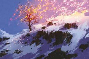 Fantasy Landscape Showing Bare Tree in Winter with Glowing Snow,Digital Painting by Tithi Luadthong