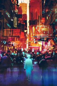 Glowing Blue Man Walking in Futuristic City with Colorful Light,Illustration Painting by Tithi Luadthong