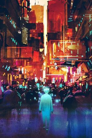 Glowing Blue Man Walking in Futuristic City with Colorful Light,Illustration Painting