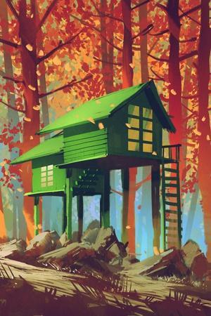 Green Houses in Autumn Forest,Illustration Painting