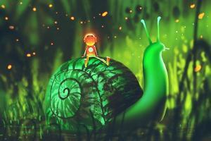 Green Snail with Cute Robot Sits on its Back against Night Forest,Illustration Painting by Tithi Luadthong
