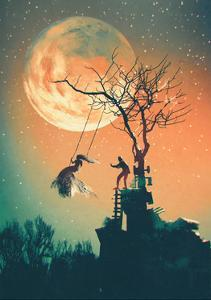 Halloween Night Background with Man Pushing Woman on Swing,Illustration Painting by Tithi Luadthong