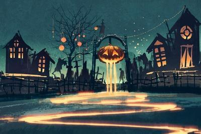 Halloween Night with Pumpkin and Haunted Houses,Illustration Painting