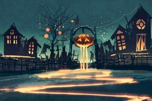 Halloween Night with Pumpkin and Haunted Houses,Illustration Painting by Tithi Luadthong