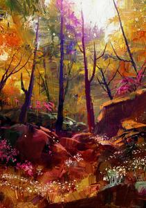 Landscape Painting of Beautiful Autumn Forest with Sunlight,Illustration by Tithi Luadthong