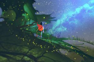 Little Boy Standing on Giant Leaves Looking at a Night Sky,Illustration Painting by Tithi Luadthong