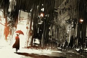 Lonely Woman with Umbrella in Abandoned City,Digital Painting,Illustration by Tithi Luadthong