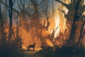 Lost Dog in the Forest with Mystic Light,Illustration Painting by Tithi Luadthong