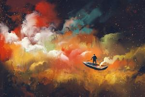 Man on a Boat in the Outer Space with Colorful Cloud,Illustration by Tithi Luadthong