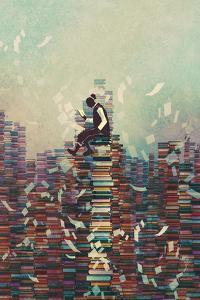 Man Reading Book While Sitting on Pile of Books,Knowledge Concept,Illustration Painting by Tithi Luadthong